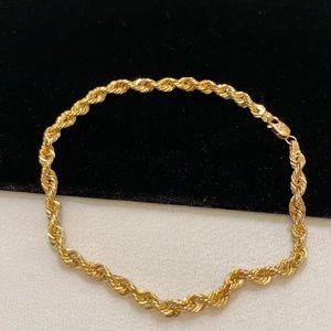 Vintage 14K Gold Rope Chain Bracelet